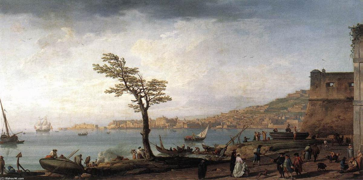 View of Naples, Oil On Canvas by Claude Joseph Vernet (1714-1789, France)