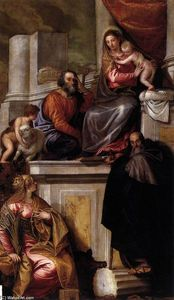 Paolo Veronese - Holy Family with Sts Anthony Abbot, Catherine and the Infant John the Baptist