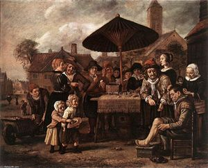 Jan Victors (Jan Fictor) - Market Scene with a Quack at his Stall