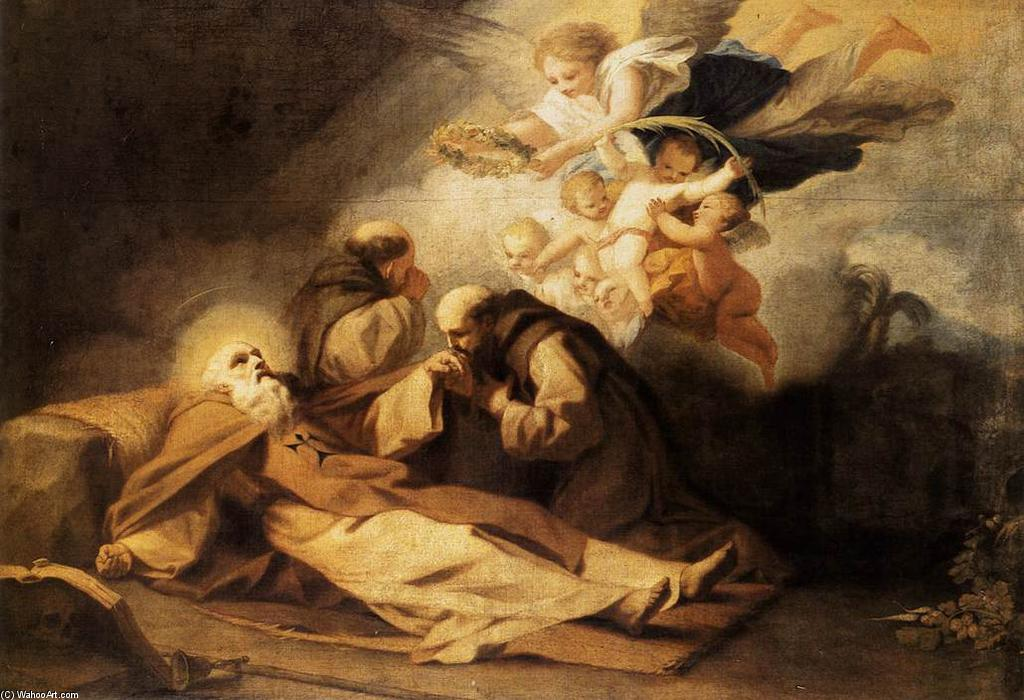 The Death of St Anthony the Hermit by Antonio Viladomat Y Manalt (1678-1755, Spain) | Paintings Reproductions Antonio Viladomat Y Manalt | WahooArt.com