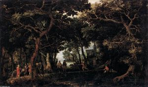 David Vinckboons - Forest Landscape with Two of Christ's Miracles