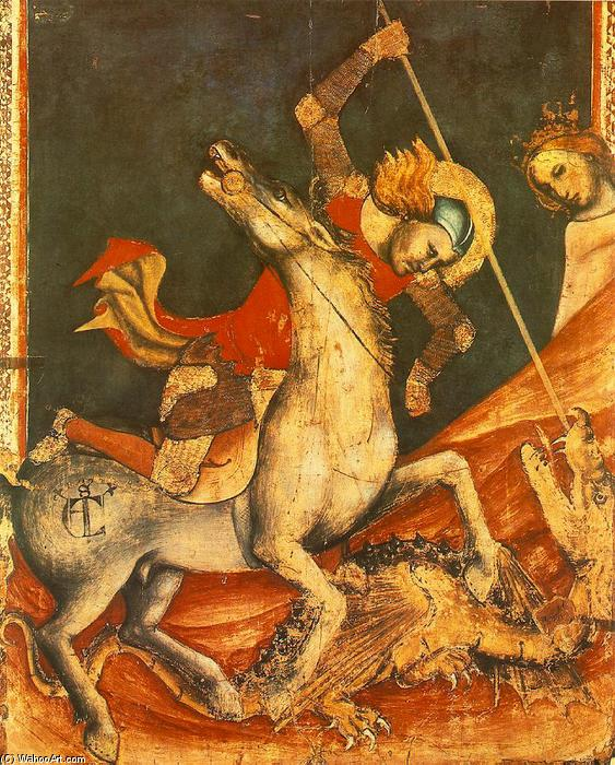 St George 's Battle with the Dragon, Tempera by Vitale Da Bologna (1299-1365, Italy)