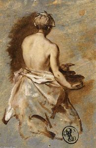 Nicolas Vleughels - Young Woman with a Nude Back Presenting a Bowl