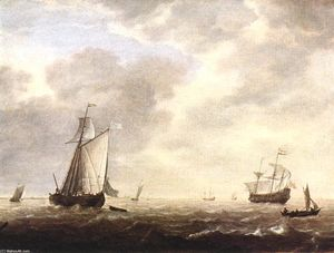 Simon De Vlieger - A Dutch Man-of-War and Various Vessels in a Breeze