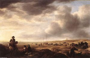 Simon De Vlieger - Beach near Scheveningen with Fish-Sellers