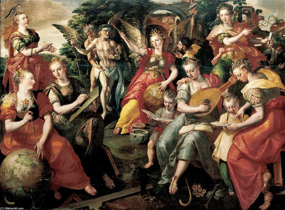 Allegory of the Seven Liberal Arts, Oil On Panel by Maarten De Vos (1532-1603)