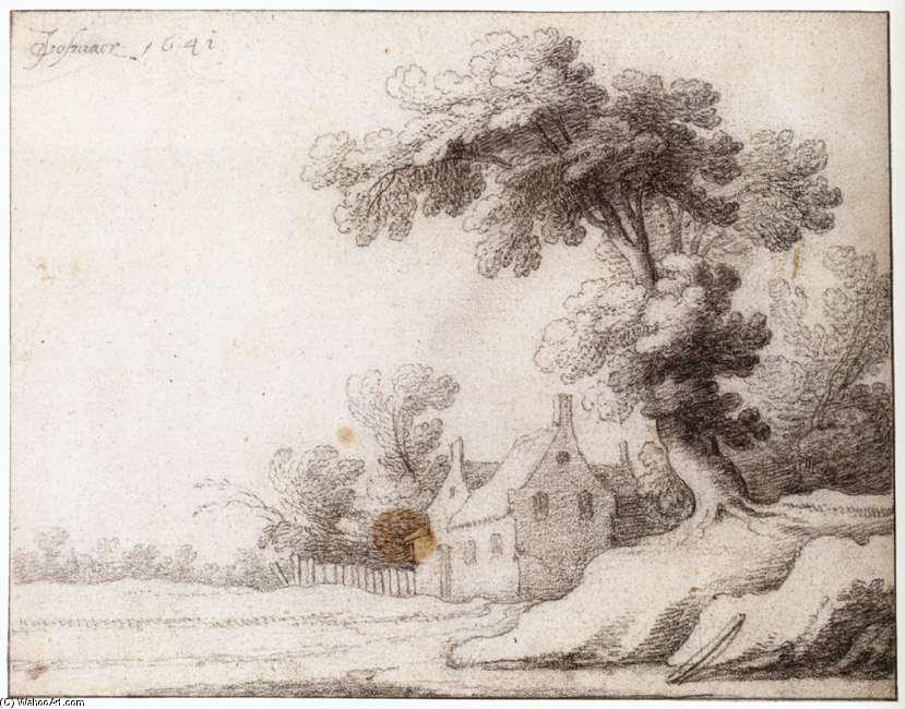 Landscape with a Tall Tree on the Right, Chalk by Jacob Woutersz Vosmaer (1584-1641, Netherlands)