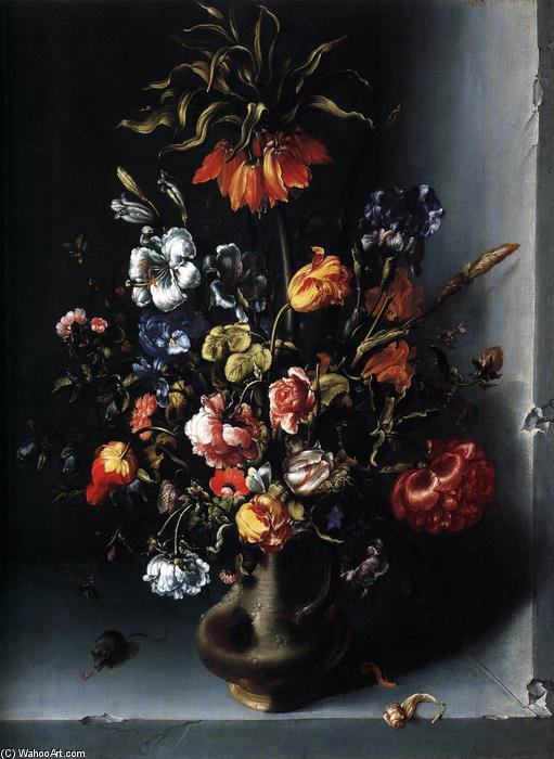 Still-Life of Flowers with a Fritillary in a Stone Niche, Oil On Panel by Jacob Woutersz Vosmaer (1584-1641, Netherlands)