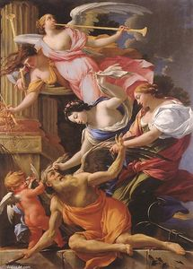 Simon Vouet - Saturn, Conquered by Amor, Venus and Hope