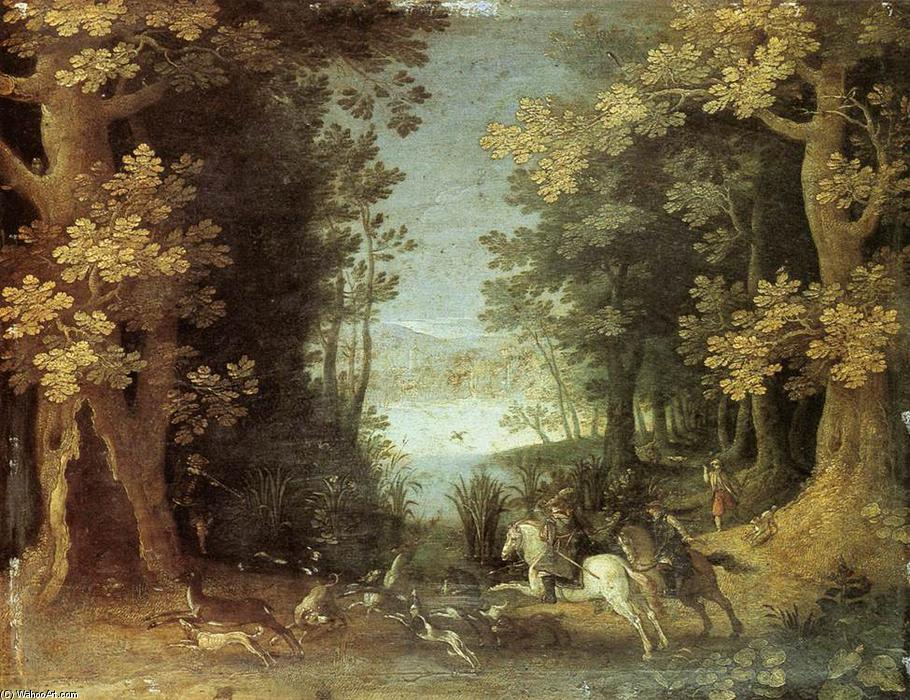 Landscape with a Deer Hunt, Oil On Copper by Sebastian Vrancx (1573-1647, Belgium)