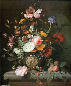 Jacob Van Walscapelle - Flowers in a Stone Vase