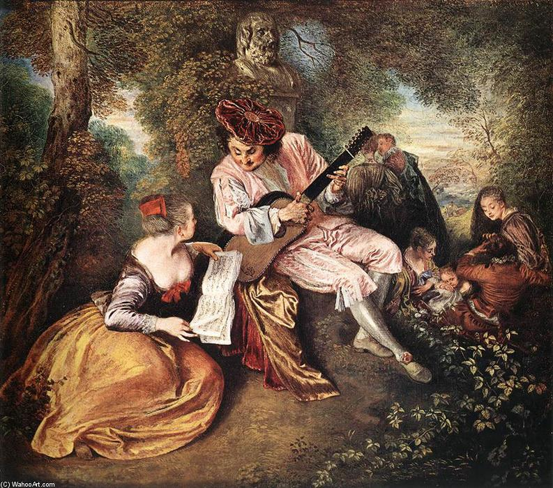 'La gamme d'amour' (The Love Song), Oil On Canvas by Jean Antoine Watteau (1684-1721, France)