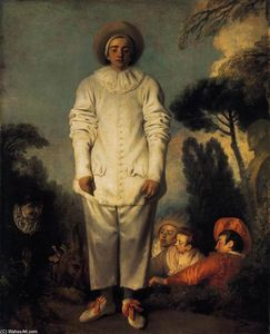 Jean Antoine Watteau - Gilles - (Famous paintings reproduction)