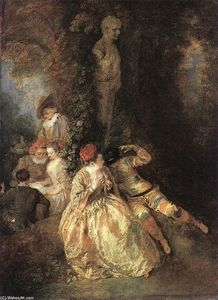 Jean Antoine Watteau - Harlequin and Columbine