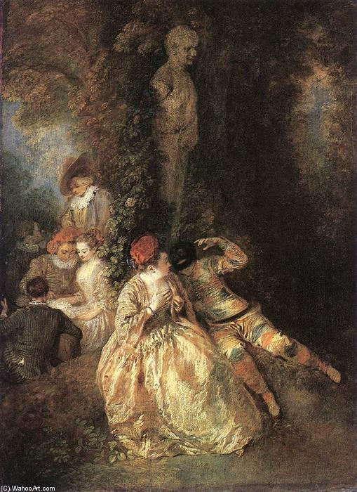 Harlequin and Columbine, Oil by Jean Antoine Watteau (1684-1721, France)