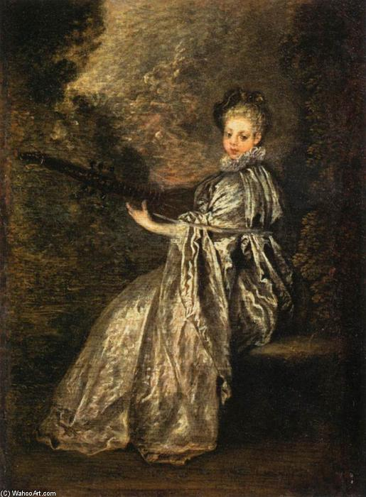 La Finette, Oil On Panel by Jean Antoine Watteau (1684-1721, France)