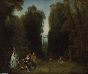 Jean Antoine Watteau - La Perspective (View through the Trees in the Park of Pierre Crozat)