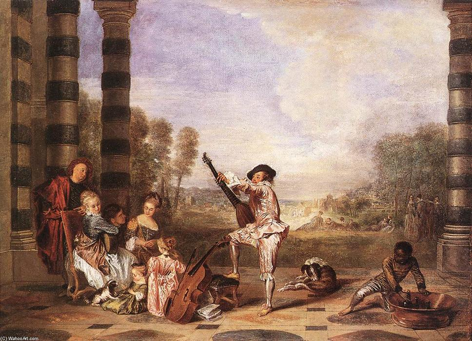Les Charmes de la Vie (The Music Party), Oil On Canvas by Jean Antoine Watteau (1684-1721, France)