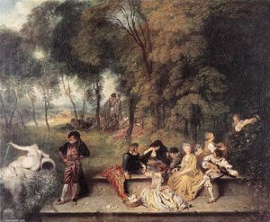 Jean Antoine Watteau - Merry Company in the Open Air