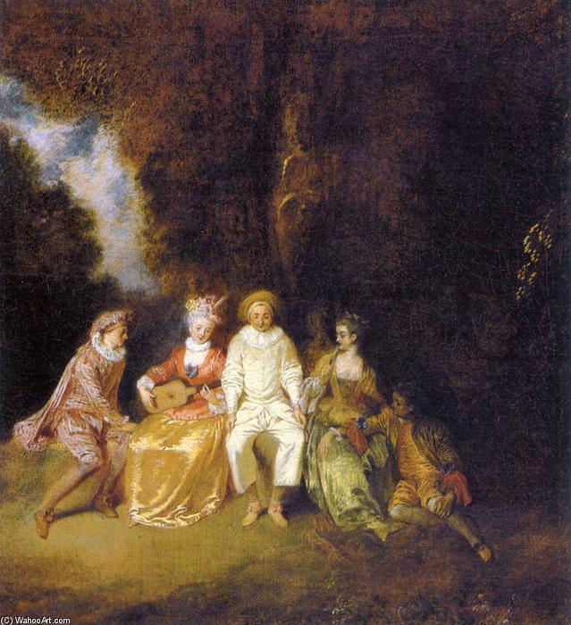 Pierrot Content, Oil On Canvas by Jean Antoine Watteau (1684-1721, France)