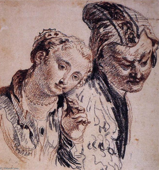 Sketch with Two Figures, Chalk by Jean Antoine Watteau (1684-1721, France)