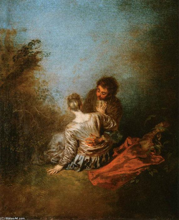 The Blunder, Oil On Canvas by Jean Antoine Watteau (1684-1721, France)