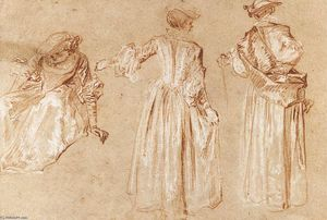 Jean Antoine Watteau - Three Studies of a Lady with a Hat