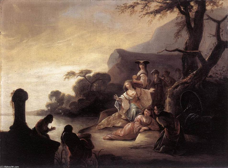 Finding of Moses in the Nile, Oil On Panel by Gerrit De Wet (1611-1674, United States)