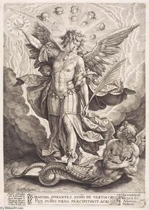 Hieronymus Wierix - St Michael Slaying the Dragon