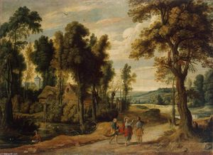 Jan Wildens - Landscape with Christ and his Disciples on the Road to Emmaus