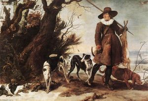 Jan Wildens - Winter Landscape with a Hunter