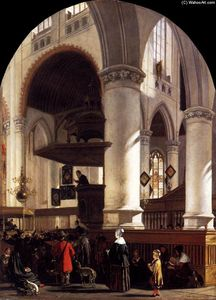 Emanuel De Witte - Interior of the Oude Kerk at Delft during a Sermon