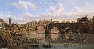 Gaspar Van Wittel (Caspar Andriaans Van Wittel) - Rome: View of the River Tiber with the Ponte Rotto and the Aventine Hill