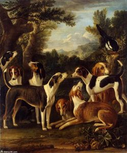 John Wootton - Hounds and a Magpie