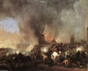 Philips Wouwerman - Cavalry Battle in front of a Burning Mill