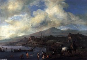 Philips Wouwerman - Landscape with Bathers