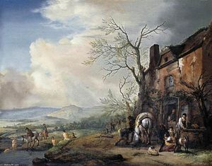 Philips Wouwerman - Landscape with Peasants by a Cottage