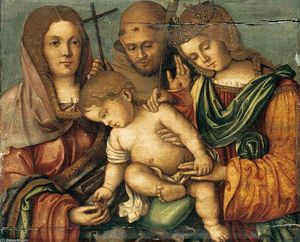 Francesco Di Bosio Zaganelli - The Christ Child between Sts Catherine, Francis and Elizabeth of Hungary