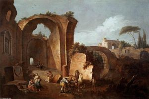 Giuseppe Zais - Landscape with Ruins and Archway