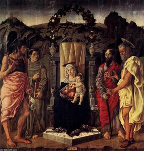 Marco Zoppo - Madonna and Child Enthroned with Saints