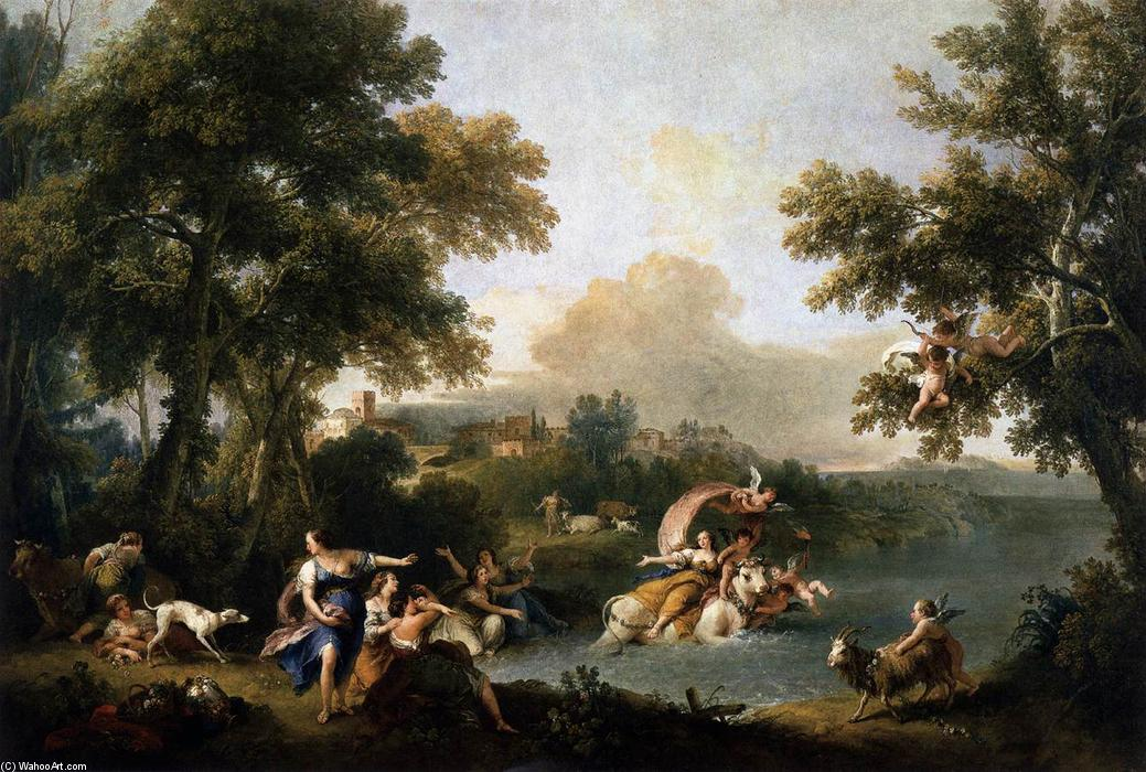 The Rape of Europa, Oil On Canvas by Francesco Zuccarelli (1702-1788, Italy)