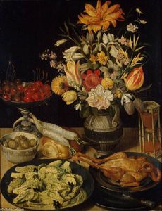 Georg Flegel - Still-Life with Flowers and Snacks
