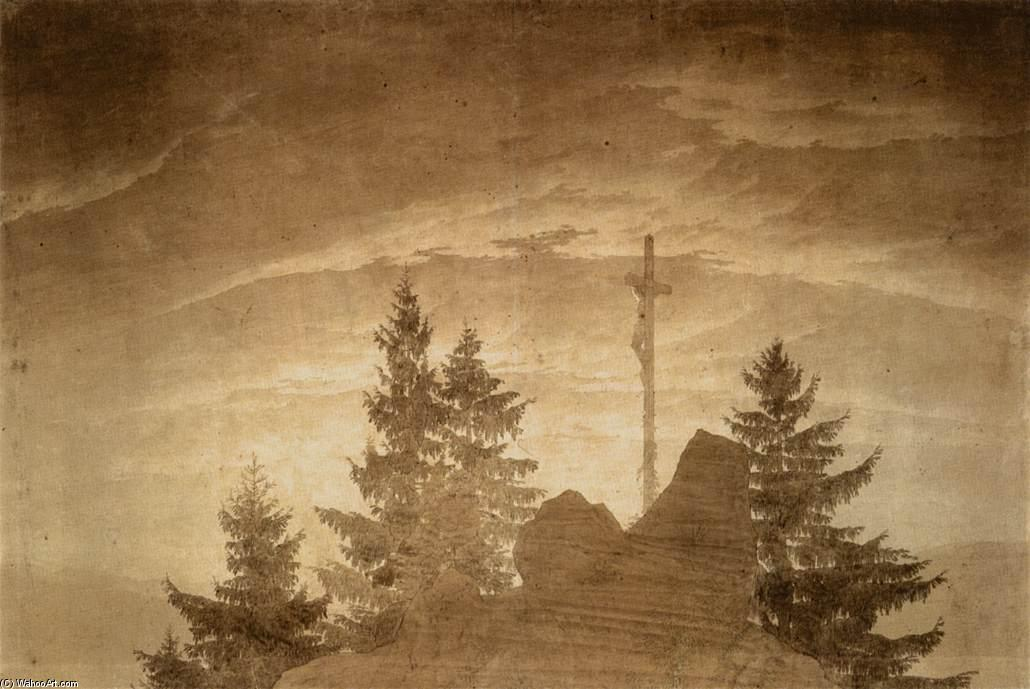 Cross in the Mountains, Pencil by Caspar David Friedrich (1774-1840, Germany)