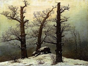 Buy Museum Art Reproductions | Dolmen in the Snow, 1807 by Caspar David Friedrich (1774-1840, Germany) | WahooArt.com