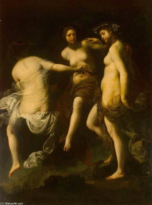 The Three Graces, Oil On Canvas by Francesco Furini (1603-1646, Italy)
