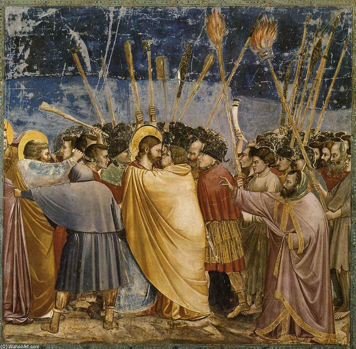 Order Museum Quality Copies | No. 31 Scenes from the Life of Christ: 15. The Arrest of Christ (Kiss of Judas), 1304 by Giotto Di Bondone (1267-1337, Italy) | WahooArt.com