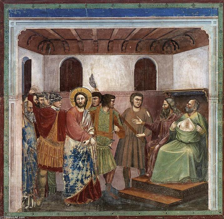 No. 32 Scenes from the Life of Christ: 16. Christ before Caiaphas, 1304 by Giotto Di Bondone (1267-1337, Italy) | Reproductions Giotto Di Bondone | WahooArt.com