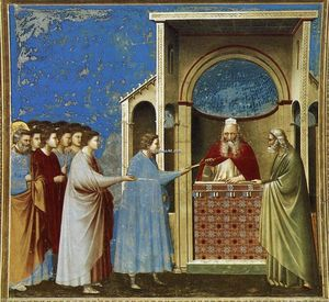 Giotto Di Bondone - No. 9 Scenes from the Life of the Virgin: 3. The Bringing of the Rods to the Temple