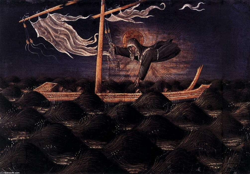St Clare Rescuing the Shipwrecked, Wood by Giovanni Di Paolo (1403-1482, Italy)