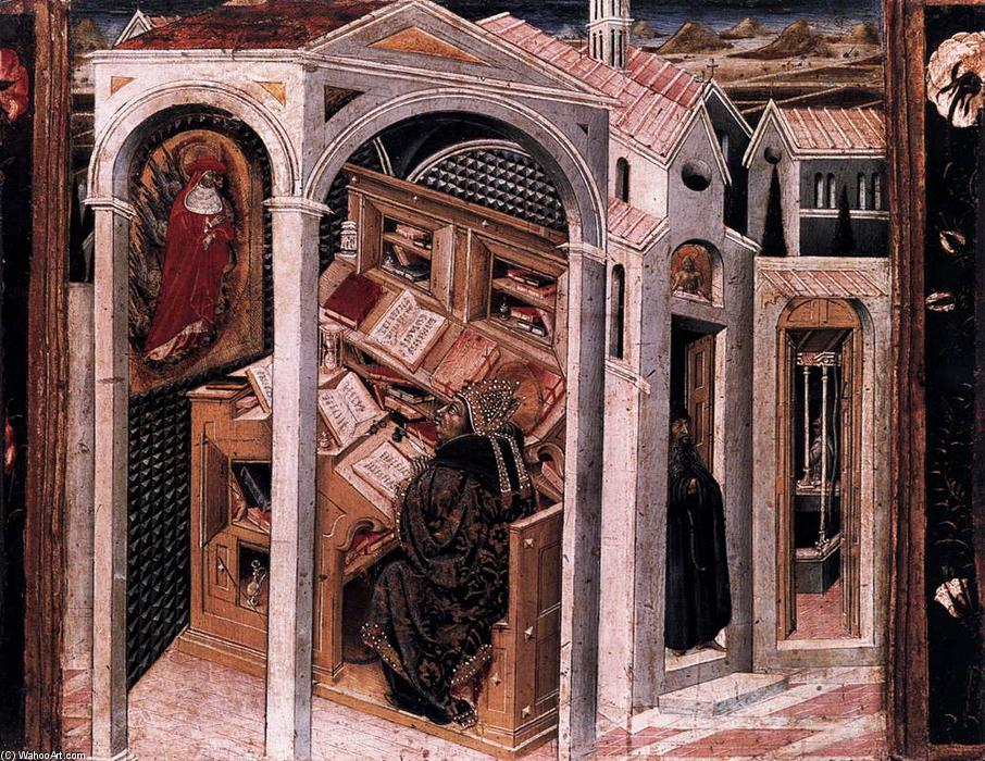 St Jerome Appearing to St Augustine, Wood by Giovanni Di Paolo (1403-1482, Italy)